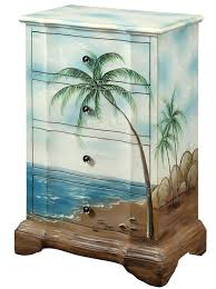 tropical painted furniture. tropical palm tree beach scene drawer chest painted furniture e