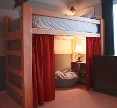 unfinished birch wood loft bunk bed with cabinet shelf and reading lamp also red curtain combined bunk beds kids dresser