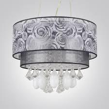 teardrop crystals grey flowers 2 tier drum shade chanelier pendant light