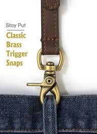 men s smooth leather suspenders adjustable elastic strap scissor hook snaps y backed