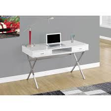 chrome office desk. Hawthorne Ave Computer Desk - 48L / Glossy White Chrome Metal Office