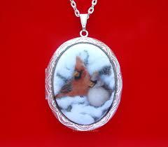 detalles acerca de porcelain cardinal birds snow cameo st locket pendant necklace birthday gift