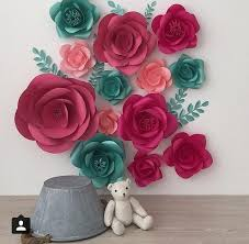 set of 13 large paper flowers paper flowers paper flower wall decor paper flower wall