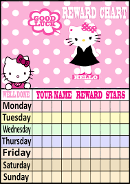 Hello Kitty Reward Chart Free Daily Children Reward Charts Hello Kitty Birthday