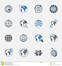 Two Tone Icons Two Tone Global And World Sign Icons Set Vector Illustration Stock