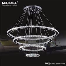 meerosee led chandelier modern stainless steel crystal light led kroonluchter hanging lamp 4 rings diy design diamond chandelier chandelier parts brass