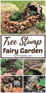 fairy garden in a tree stump rhythms
