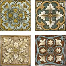 Set 4 Old Spanish Mission Rosette Design Wall Tiles Wall tiles