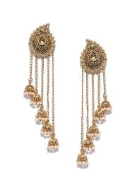 zaveri pearls stone studded drop earrings