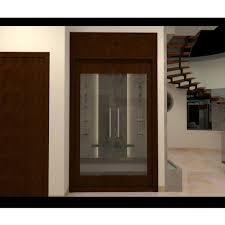brown modern wooden glass main door