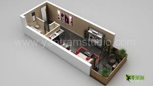floor plan 3d. 3D Small Home Floor Plan Rendering 3d