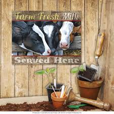 Farm Animal Kitchen Decor Farm Fresh Milk Served Here Cows Sign Country Kitchen Decor