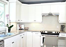 quartz countertops with maple cabinets maple cabinets painted cloud white gray paint colour quartz hexagon subway