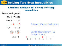 additional example 1b solving two step inequalities