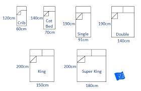 uk ireland bed sizes chart