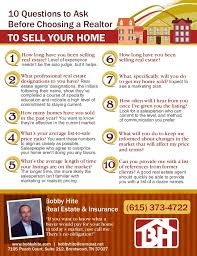 choosing a realtor. Interesting Realtor 10 Questions To Ask Before Choosing A Realtor TO SELL YOUR HOME Bobby Hite  Real Estate Intended A S