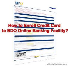 enroll bdo credit card to banking