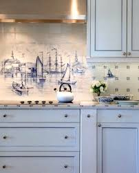 Mural Tiles For Kitchen Decor Nautical Tile Backsplash With Mural Design By Nantucket Architecture 36