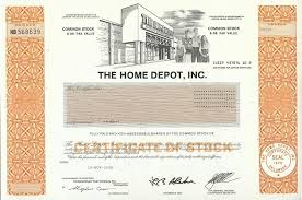 Small Picture Home Depot Stock Certificate