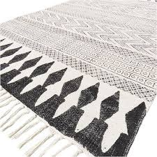 sentinel 3 x 5 ft white black cotton block print area accent dhurrie rug flat weave woven