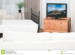 Fernseher Im Schlafzimmer Stockbild Bild Von Leben Zeitgenössisch