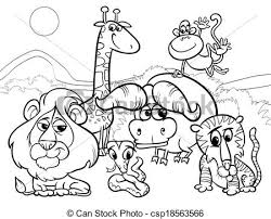 black and white animal clipart group. Wild Animals Cartoon Coloring Page Inside Black And White Animal Clipart Group