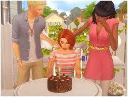 Small Pose Pack And Chocolate Birthday Cake At Josie Simblr Sims 4