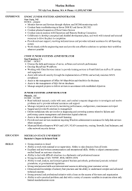 resume system administrator junior systems administrator resume samples velvet jobs