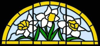 stained glass applique daffodil panel