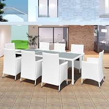 chloe rossetti with cream white cushion outdoor dining set seven pieces poly rattan brown dining table