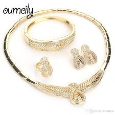 whole oumeily jewelry sets dubai fashion jewelry set for women wedding gold color jewellery vine choker indian set rhinestone jewelry sets wedding