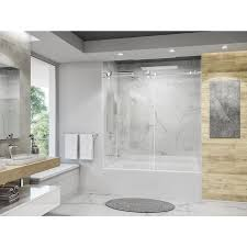 holcam eclipse 56 60 in x 60 1 2 in tub barn door frameless chrome