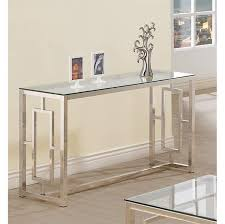 com console table for entryway glass top modern hall room furniture metal base foyer decor kitchen dining