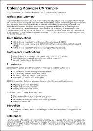 Management Cv Catering Manager Cv Sample Myperfectcv