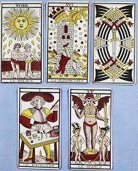 french tarot cards from the 17th century the sun the tower the nine of swords the