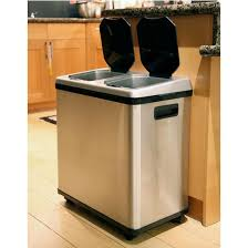 2-Compartment Stainless Steel Trash Can and Recycling Bin-900602 - The Home  Depot
