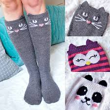 Sock Knitting Pattern Unique Ravelry Check Meowt Cat Owl And Panda Knee High Socks Pattern By