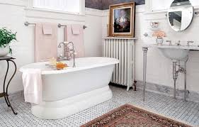 stylish wall towel bars and traditional fl rug for classic bathroom ideas with elegant victorian style floor tiles