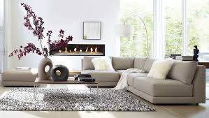 Modern living room design with corner grey leather sofa and drum shape white standing lamp design ideas