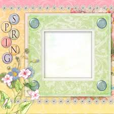 Paper Frames Templates Picture Frame And Spring Flowers Scrapbook Paper Design