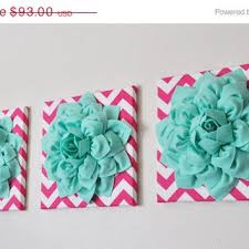 mothers day sale wall art set of three mint dahlia on hot pink and white on mint green canvas wall art with shop set of three wall art on wanelo