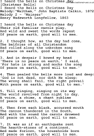 Old American Song - Lyrics for: I Heard The Bells On Christmas Day ...