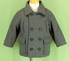 228 baby gap toddler boy wool gray jacket pea coat double ted collar euc 2