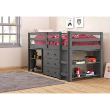 kids low loft bed. Perfect Low Donco Kids Twin Low Study Loft With Desk Chest And Bookcase In Dark Grey In Bed O