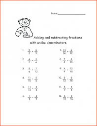 Adding Fractions with Unlike Denominators Worksheet ...
