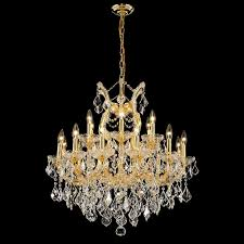 elegant 2800d30g rc maria theresa gold 19 light traditional hanging chandelier with crystal loading zoom