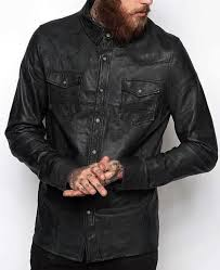 details about mens shirt jacket black real soft genuine lambskin washed waxed leather shirt