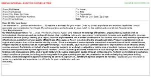 Internal Auditor Job Cover Letter
