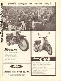 vintage honda motorcycle ads. 1960 honda dream and super cub x matted print ad motorcycle art wonderful motorcycles from uptodate factory vintage ads