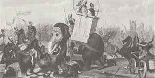 defeat in war. a depiction of the mighty war elephant defeat in